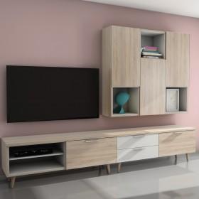 Mueble modular de salón nórdico  Muebles modulares  Medidas: 2752x1229/524x450mm; Color: roble aserrado; Tirador: zenit; Tipo de