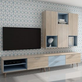 Modular de salón detalles celeste  Muebles modulares  Medidas: 2752x1229/524x450mm; El paquete cabe en el ascensor: si - el