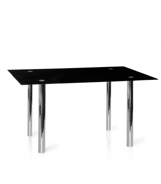 Mesa fija negra con patas cromadas