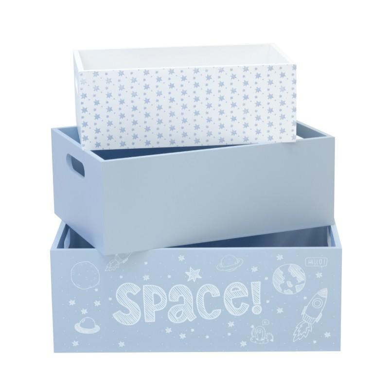 Set 3 boites de bois decoratives bleues  CHAMBRE ENFANT  The