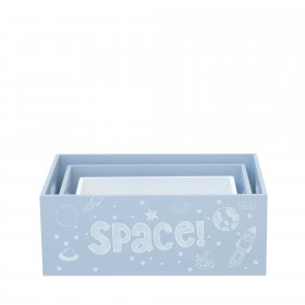 Set 3 caixas de madeira decorativas azuis CRIANÇAS E JUVENTUDE