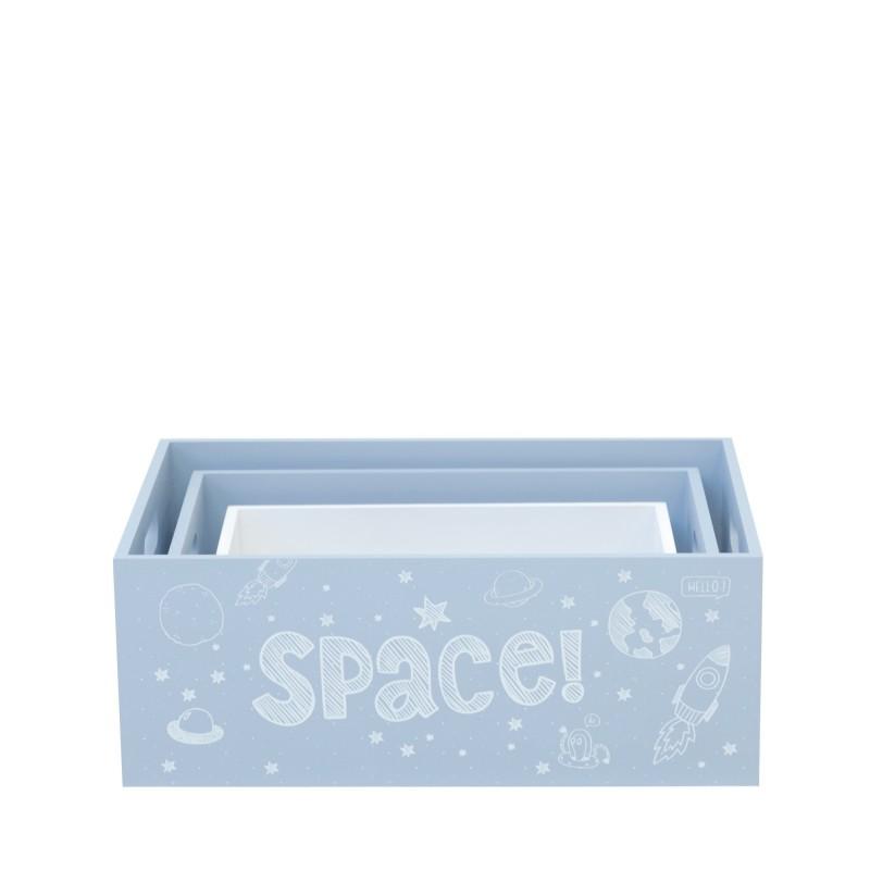 Set 3 cajas de madera decorativas azules  Decoración Infantil Cajas y cestos  Color: pastel frozen; Tipo de producto: cajas;