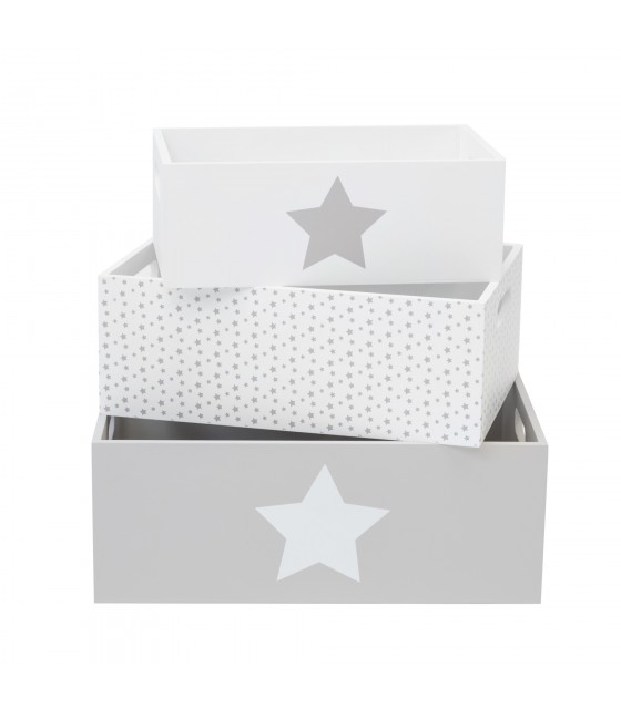 Set di scatole di stelle decorative in legno