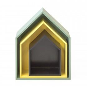 Set 3 estantes casita verde amarillo negro  Muebles juveniles   DISTRIMOBEL Muemue - Muebles