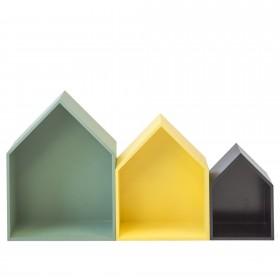 Set 3 prateleiras casita verde amarelo preto CRIANÇAS E