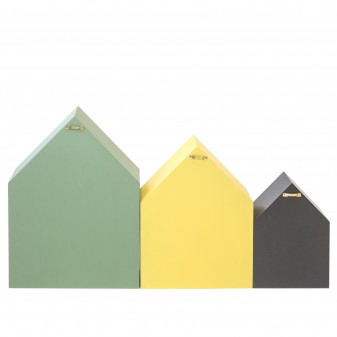 Set 3 estantes casita verde amarillo negro  Decoración Infantil Percheros y estanterías   DISTRIMOBEL Muemue - Muebles