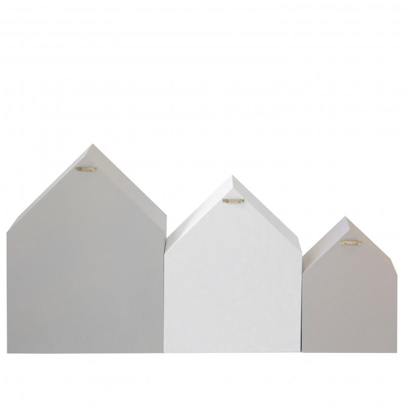 Set 3 casita prateleiras cinzas e brancas  CRIANÇAS E JUVENTUDE