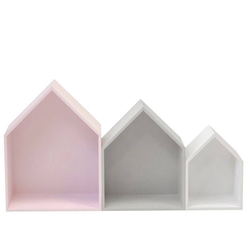Set 3 estantes casita rosa, gris y blanco  Decoración Infantil Percheros y estanterías   DISTRIMOBEL Muemue - Muebles