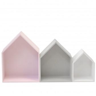 Set 3 estantes casita rosa, gris y blanco  Muebles juveniles   DISTRIMOBEL Muemue - Muebles