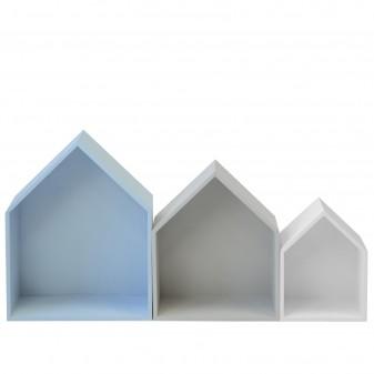 Set 3 estantes casita azul gris y blanco Muebles juveniles DISTRIMOBEL Muemue - Muebles