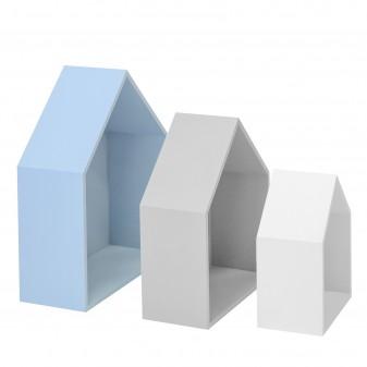 Set 3 estantes casita azul gris y blanco Infantil y juvenil DISTRIMOBEL