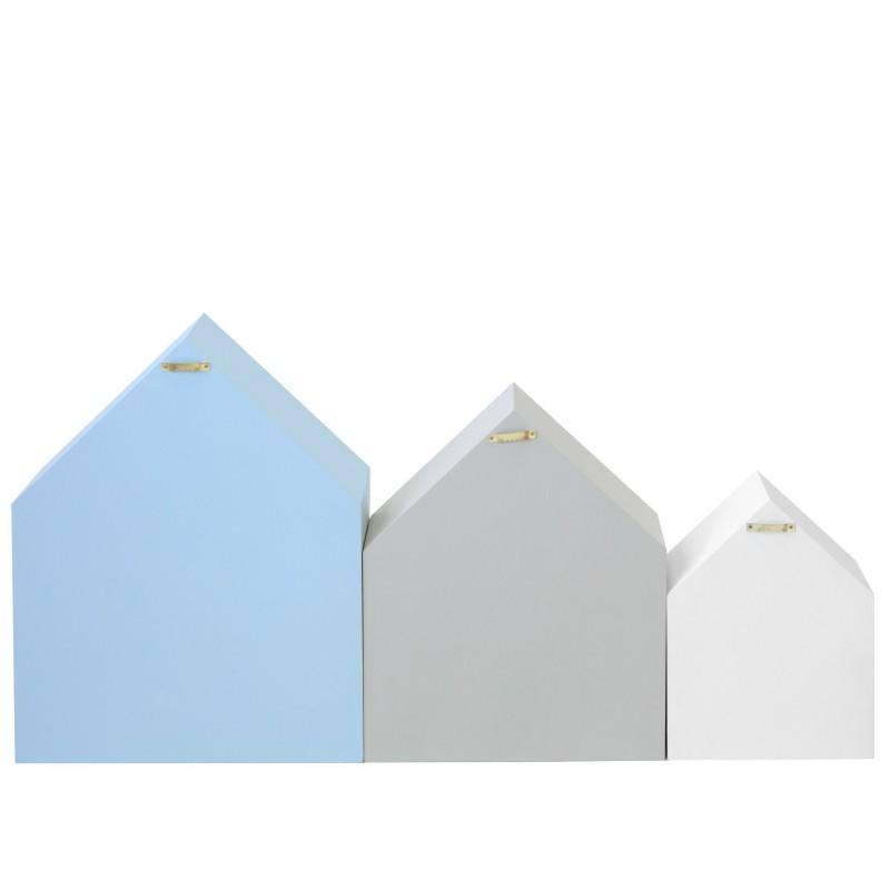 Set 3 estantes casita azul gris y blanco  Decoración Infantil Percheros y estanterías   DISTRIMOBEL Muemue - Muebles