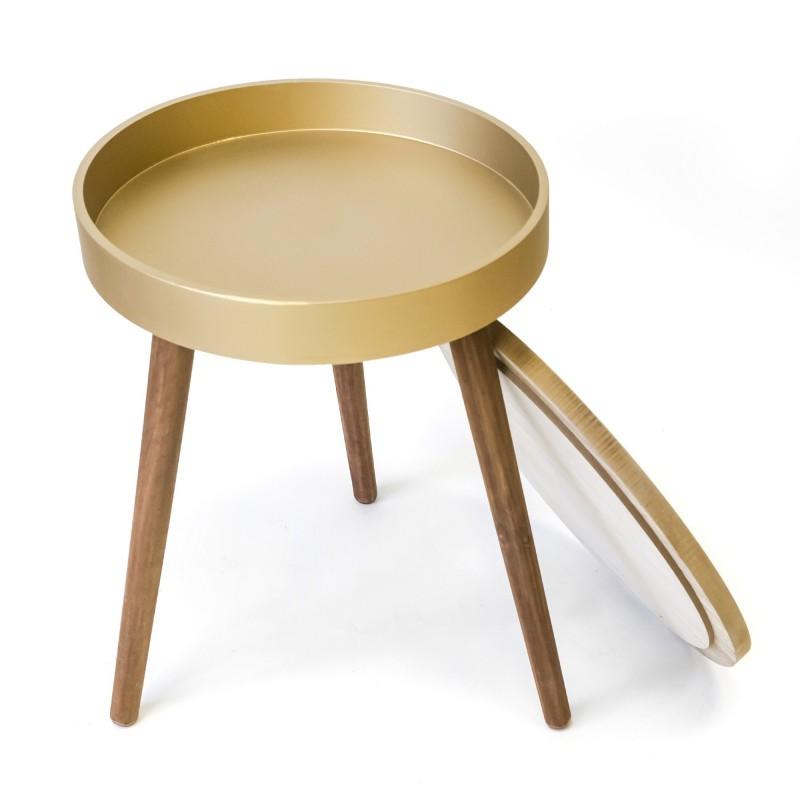 Mesita auxiliar redonda oro  Salón Mesas auxiliares  Incluye herramientas: si - incluye herramientas; Ambiente: nordic chic;
