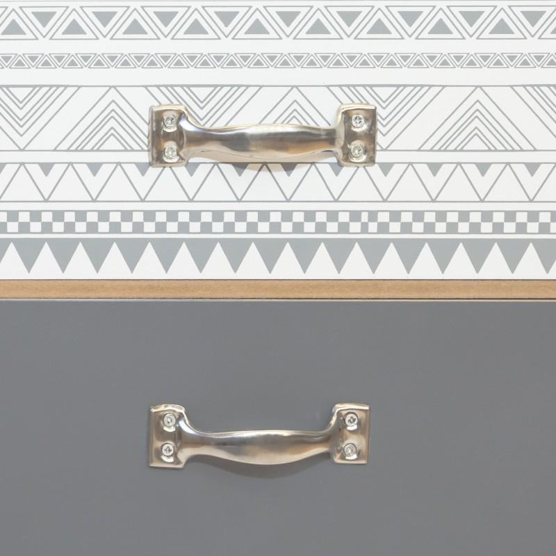 Mesita dos cajones trama gris y blanca  Muebles Dormitorio Mesitas, cómodas y sinfoniers   DISTRIMOBEL Muemue - Muebles