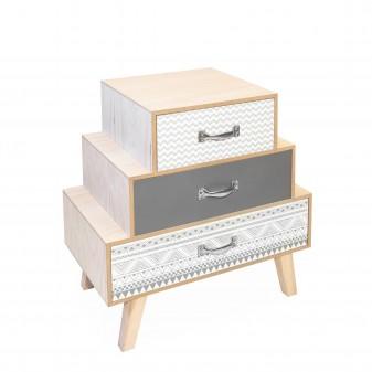 Mesita tres cajones escalonados trama gris y blanca Muebles Dormitorio Mesitas, cómodas y sinfoniers DISTRIMOBEL Muemue -