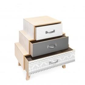 Mesita tres cajones escalonados trama gris y blanca Mesitas, cómodas y sinfoniers DISTRIMOBEL