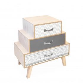 Table basse trois tiroirs décalés gris gris et blanc  COMMODE