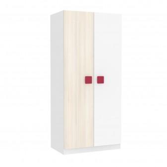 Armario juvenil blanco puertas combinadas blanco y natural