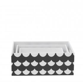 Set 3 cajas de madera decorativas blanco y negro  Muebles juveniles   DISTRIMOBEL Muemue - Muebles
