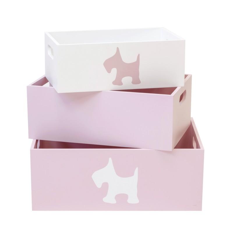 Set 3 rosas caixas de madeira decorativas  DECORAÇÃO