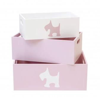 Set 3 cajas de madera decorativas rosas Decoración Infantil Cajas y cestos DISTRIMOBEL Muemue - Muebles