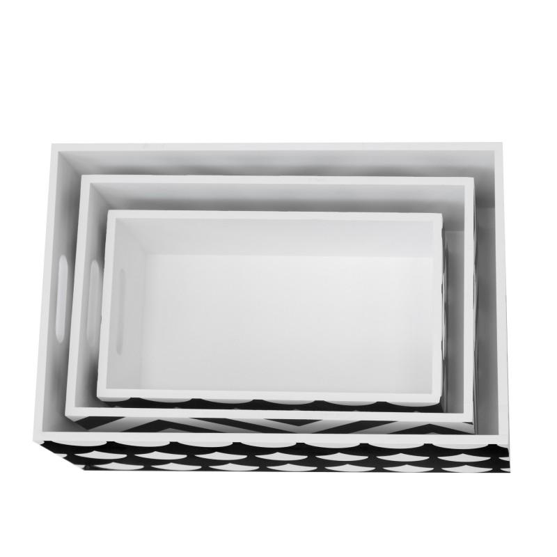 Set 3 boîtes décoratives en bois blanc et noir  CHAMBRE ENFANT