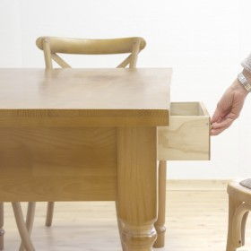Mesa de carvalho sólido com gavetas MESAS DE JANTAR