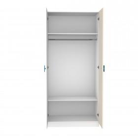 Portes blanches combinées blanc et naturel ARMOIRES COLORES