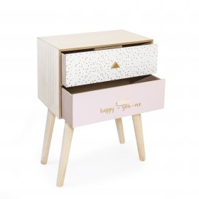 Table basse avec deux tiroirs en blanc et rose  COMMODE ET
