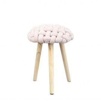 Taburete de madera trenzado Decoración Infantil Mesitas, sillas y Pupitres COLORES DISPONIBLES: gris perla, rosa pastel, verde