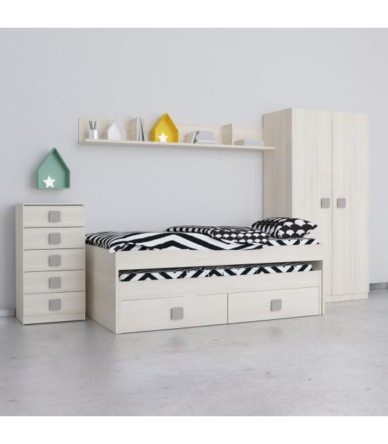 Conjunto dormitorio juvenil natural frentes en natural