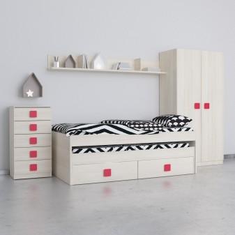 Conjunto dormitorio juvenil natural frentes en natural Habitaciones juveniles COLORES DISPONIBLES: magenta, berenjena, rojo