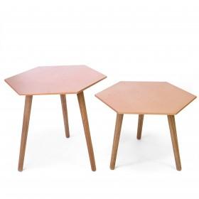 Conjunto 2 mesas auxiliares hexagonales Salón Mesas auxiliares COLORES DISPONIBLES: gold, copper Incluye herramientas: si -