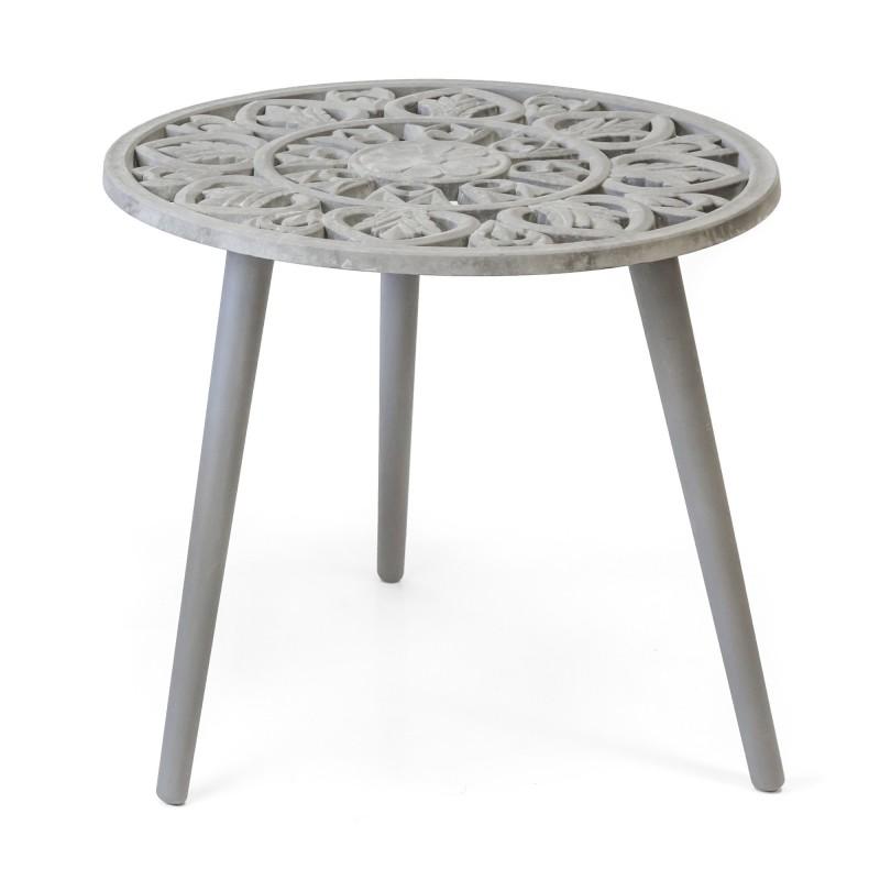 Conjunto 2 mesitas auxiliares con grabados  Salón Mesas auxiliares  Color: gris envejecido; Tipo de producto: mesas centro;