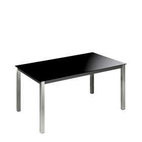 Mesa de comedor fija estructura acero cromado Mesas de comedor COLORES DISPONIBLES: negro, blanco El paquete cabe en el