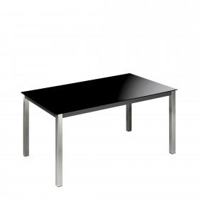 Tableau de salle à manger fixe structure en acier chrome TABLE