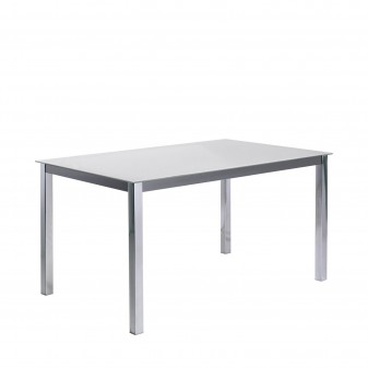 Mesa de comedor fija estructura acero cromado  Salón Mesas de comedor COLORES DISPONIBLES: negro, blanco Incluye herramientas: s
