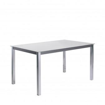 Mesa de comedor fija estructura acero cromado Salón Mesas de comedor COLORES DISPONIBLES: negro, blanco El paquete cabe en el