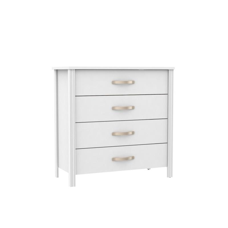 Cómoda blanca 4 cajones  Muebles Dormitorio Mesitas, cómodas y sinfoniers COLORES DISPONIBLES: dorado, gris grafito, plata Color