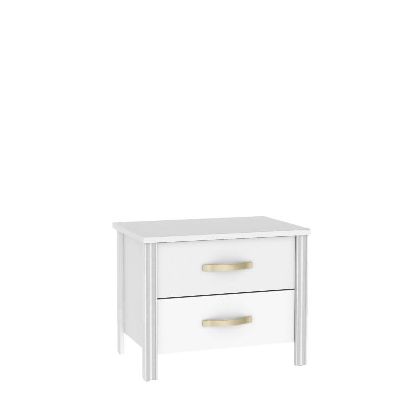 Mesita de noche blanca  Muebles Dormitorio Mesitas, cómodas y sinfoniers COLORES DISPONIBLES: plata, gris grafito, dorado Color: