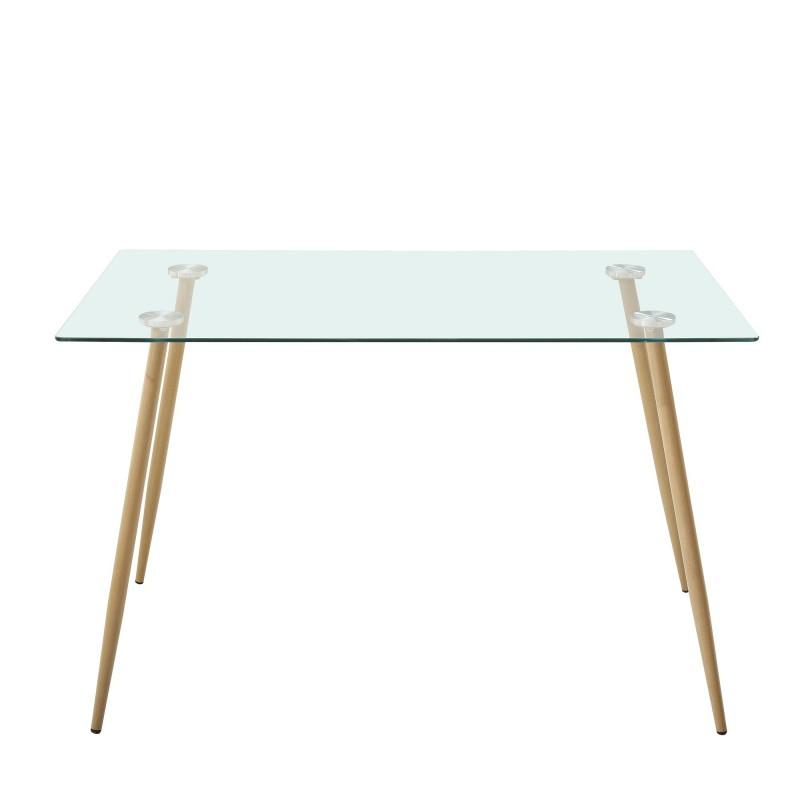 Mesa fija patas metal aserrado  Cargas de producto  Color: patas metálicas efecto madera aserada; Material Principal: cristal