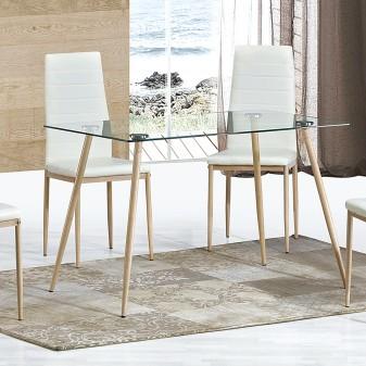 Mesa fija patas metal aserrado Home Cargas de producto Color: patas metálicas efecto madera aserada; Material Principal:
