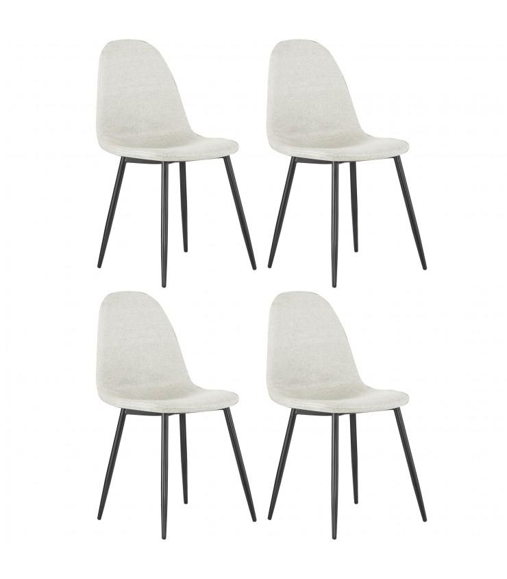 Pack de 4 sillas tapizado/pata negra