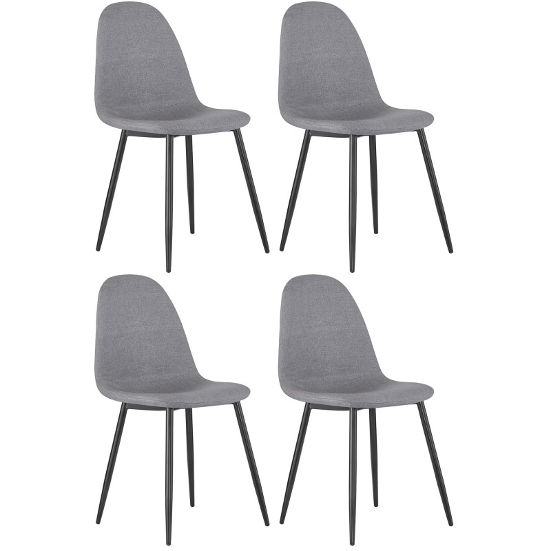 Pack de 4 sillas tapizado/pata negra  Cargas de producto COLORES DISPONIBLES: beige, gris, negro Medida producto ancho: 1900mm