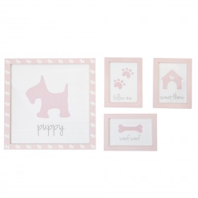 Set 4 cuadros infantiles perrito  Decoración Infantil Decoración de pared  Color: pastel rosa; Tipo de producto: marcos de fotos