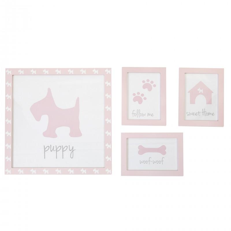 Set 4 cuadros infantiles perrito  Decoración Infantil Decoración de pared  Color: pastel rosa; Tipo de producto: marcos de fotos