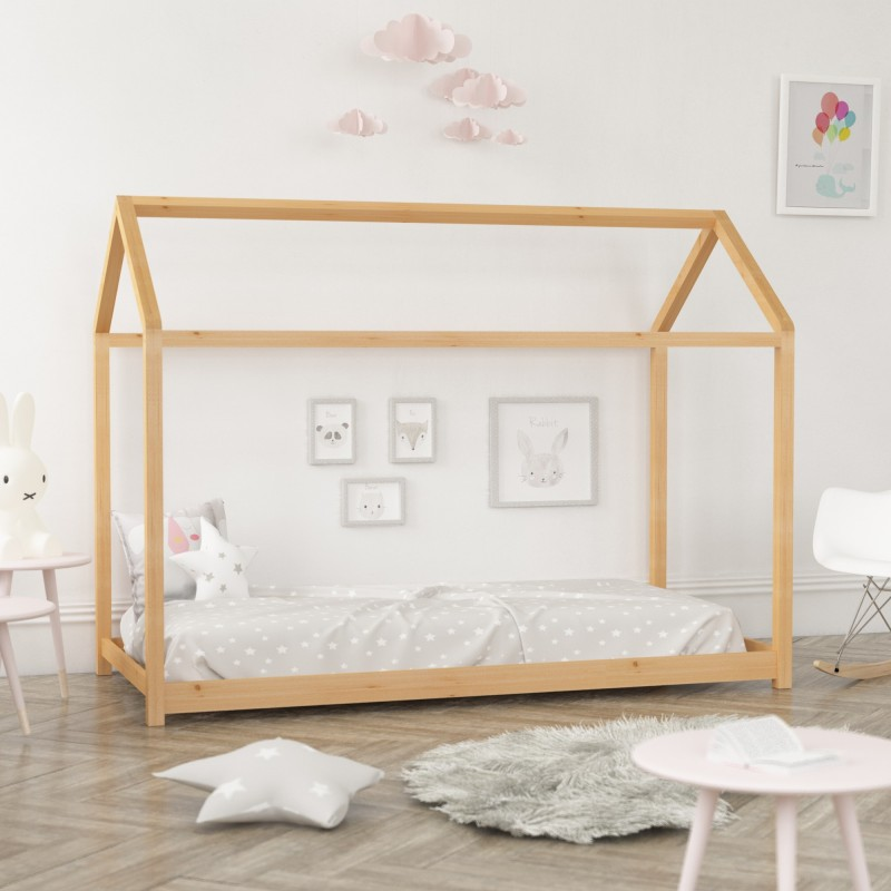 Cama infantil montessori casita  Home Montessori COLORES DISPONIBLES: blanco, pino, rosa pastel Medidas: 2000x1000x1500mm;