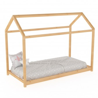 Cama infantil montessori casita Montessori COLORES DISPONIBLES: blanco, pino, rosa pastel Medidas: 2000x1000x1500mm; Incluye