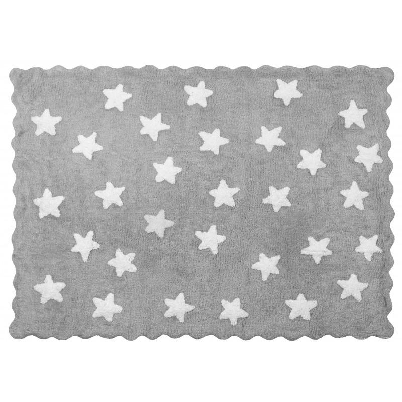 Alfombra Infantil STAR - Lavable (160 x120 Cm)  textil Alfombras COLORES DISPONIBLES: berenjena, gris y blanco, rosa pastel, roj