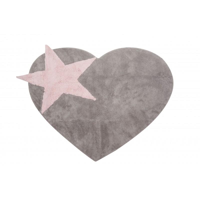 Alfombra Infantil Love Star - Lavable 160 x 120 cm.  textil Alfombras COLORES DISPONIBLES: gris y rosa, rosa pastel Incluye